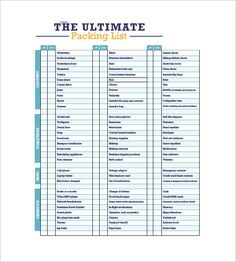 List Template Word Camping Packing List  Packing List Template With Several Common .