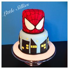 A two tier Spiderman cake!