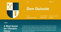 This study guide and infographic for Miguel de Cervantes' Don Quixote offer summary and analysis on themes, symbols, and other literary devices found in the text. Explore Course Hero's library of literature materials, including documents, Q&A pairs, and flashcards created by students and educators.