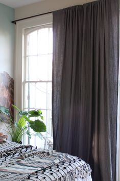 Our Dark Grey Laundered Belgian Linen Drapes in the home of Liz Kamarul. Liz chose Laundered Linen for a lived-in look that fit her eclectic decor. Drapes And Blinds, Shades Blinds, Curtains, Eclectic Windows, Eclectic Decor, Buy Windows, Custom Drapes, Window Coverings, Dark Grey