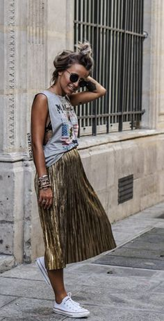 Golden Loose Midi Skirt. Love pleated skirt with crop top. 40% off 1st order!