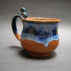 Mug Thrown Stoneware Pottery 12 oz Blue Brown by PorcelainJazz.