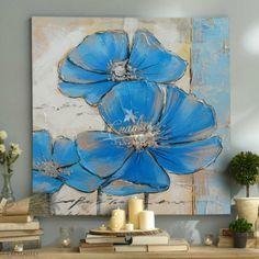 flores-azul-plata-cuadros-decorativos-al-oleo Flower Canvas, Flower Art, Art Folder, Butterfly Painting, Abstract Canvas Art, Arte Pop, Leaf Art, Abstract Flowers, Texture Painting