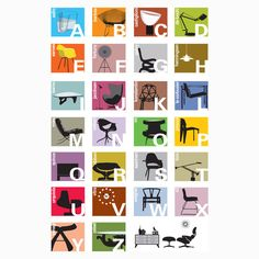 E is for Eames, F is for Fortuno, G is for Gehry...teach baby the modern design ABCs with Blue Ant Studio's Alphabet Color print.