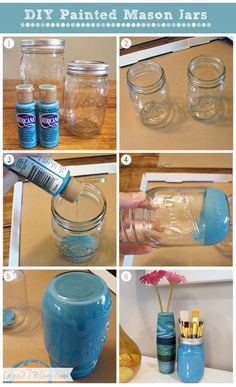 """A Pint of the Rainbow"" DIY Painted Mason jar Mason Jar Projects, Mason Jar Crafts, Mason Jar Diy, Diy Jars, Fun Crafts, Diy And Crafts, Homemade Crafts, Pot Mason, Craft Projects"