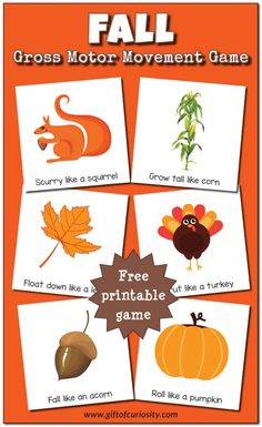 Free printable Fall Gross Motor Movement Game What a fun idea for giving kids a movement break during the day Gift of Curiosity Fall Preschool Activities, Gross Motor Activities, Movement Activities, Preschool Crafts, Physical Activities, Music Activities, Preschool Theme Fall, Preschool Boards, Seasons Activities