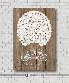 Custom guest book canvas sign in, rustic boho wedding guest book alternative. Unique guestbook wedding gift wood decor balloons bicycle - Decoration For Home Wedding Tree Guest Book, Rustic Boho Wedding, Guest Book Tree, Rustic Wedding Guest Book, Wedding Book, Wedding Art, Tree Wedding, Guest Books, Rustic Weddings