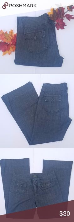 """Lucky Brand Dungarees Manhattan Trouser Lucky Brand Dungarees Manhattan Trouser, size 12/31, beautiful dark blue trouser style jeans with wide leg.  16"""" waist 9"""" rise 31"""" inseam Lucky Brand Pants Trousers"""