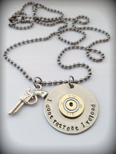 Hand stamped I don't retreat I reload pendent necklace. authentic spent 410 shot gun shell casing riveted to a silver tag on Etsy, $17.00