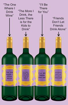 Excite your friends and fans of Friends the TV show with these cute wine bottle labels. This listing is for an instant digital download of ALL FOUR shown in the photos above. ............................................................................................................................   Specifications:  - File Type: PDF & JPEG files - Resolution: High Quality (300 DPI) - Label Size: 3 by 4 but I can make any size label you want at no extra cost! - The JPEG Files are all sepa...