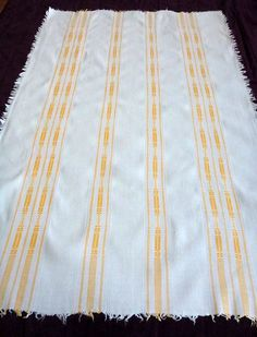 UNIQUE big Vintage LINEN tablecloth with FRINGE yellow pattern table cloth 60s $16