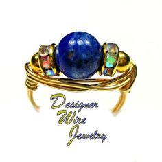 Celestial Blue Lapis Lazuli Solitaire Artisan Gold Tone Wire Wrap Ring All Sizes