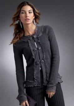WOMEN'S GREY RUFFLE EMBELLISHED CARDIGAN SWEATER - M #Fashion #Style #Deal