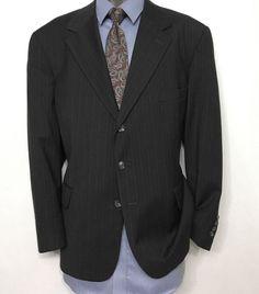 BILL BLASS Mens Suit Jacket Sz 44R | 100% Wool Gray Striped 3 Button Sport Coat #BillBlass #ThreeButton