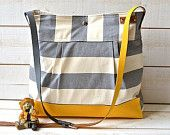 Waterproof Gray BEST SELLER Diaper bag/Messenger bag STOCKHOLM gray and ecru nautical stripe - 10 Pockets - Red leather strap. $109.00, via Etsy.