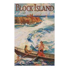 Vintage Block Island RI Travel Poster Art