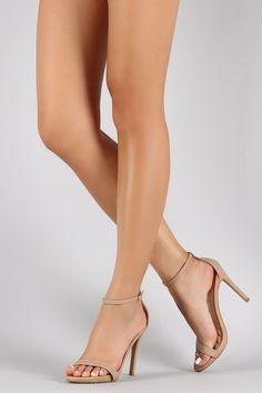 Anne Michelle Ankle Strap Open Toe Stiletto Heel