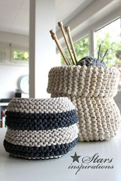 Knit Basket Inspiration!                                                                                                                                                                                 More