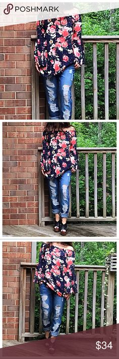 🆕 off the shoulder tunic Bell sleeves loose fit stunning off the shoulder tunic PLEASE Use the Poshmark new option you can purchase and it will give you the option to pick the size you want ( all sizes are available) BUNDLE and save 10% ( no trades price is firm unless bundled) Tops