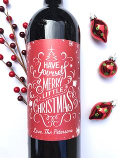 Christmas Wine Labels Happy Holidays Merry Christmas by PaprikaPaperie