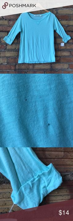 NWT MICHAEL STARS  The original tee 3/4 paper thin Two TINY holes on the front. This gives it that vintage broken in look! This is SEA GREEN IT LOOKS BLUE IN THE PICTURES BUT IT'S A TIFFANY BLUE GREEN Michael Stars Tops Tees - Long Sleeve