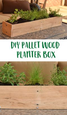 DIY Wood Pallet Planter Box. Use pallet wood to create this simple and easy DIY box that can be used for herbs, flowers, or a centerpiece. Includes tutorial.  AD