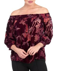 Floral Burnout Velvet Off The Shoulder Blouse Was:$39.99 Now:$23.96