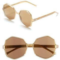 Komono 'Bonnie' Sunglasses ($60) ❤ liked on Polyvore featuring accessories, eyewear, sunglasses, clear gold, komono, clear eyewear, uv protection sunglasses, komono sunglasses and clear glasses