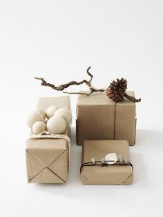 Nature themed gift wrapping