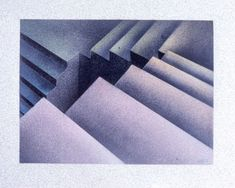 Elizabeth Tuttle, Pastel Study for Pink to Deep Blue Green; 5.75 x 7.75 inches. 1980 to 1983 #warmtone #cooltone #ombre #geometricart #geometry #pastel #drawing #handmade #art #fineart #domesticlife #domesticart #conceptualart #architecture #design #stairs #opticalillusion Cool Tones, Conceptual Art, Geometric Art, Optical Illusions, Deep Blue, Pattern Design, Blue Green, Fine Art, Pastel Drawing
