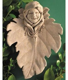 "Hand Cast Stone Green Woman Woodland Spirit Mythical Plaque - Collectible Concrete Leaf Face Nature Sculpture by Creative Structures. $33.98. Unique And Whimsical Works Of Art By George At Carruth Studio. Hand Cast Stone, Weatherproof & Waterproof, Handfinished With A Patina Wash To Accentuate The Details. Dimensions: 6.75"" W x 9.25"" H x 2.25"" D - Item Weight: 4 Lbs. - Made In The USA. Extremely Innovative Creations That Breathe Life And Bring Joy And Whimsy T..."