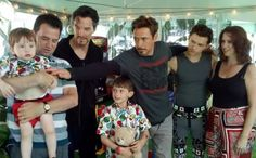 Robert Downey Jr, Tom Holland and Benedict Cumberbatch on set of Infinity War with Ethan and his family!  Atlanta