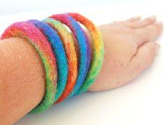 Radial Rainbow  Set of 5 Hand Felted Bracelets by therainbowroom #rainbow #bangles #felt