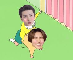 Baekhyun Fanart, Chanyeol, Exo Memes, Exo Ot12, Chanbaek, Exo Stickers, Sehun Cute, Cartoon Edits, Exo Couple