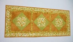 Golden Leaves Quilted Table Runner Quilted by ForgetMeNotQuilteds