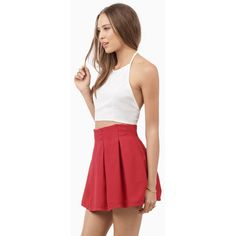 Tobi Casting Spells Skater Skirt (205 MXN) ❤ liked on Polyvore featuring skirts, red skirt, skater skirt, circle skirt, red circle skirt and red flared skirt