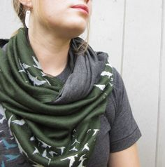 Birds Infinity Scarf Olive Green and Grey