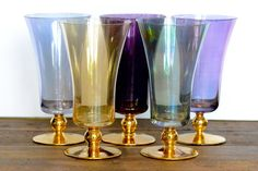 Harlequin wine glasses set of five by ThatRetroPiece on Etsy, $50.00