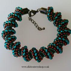 Teal and Bronze Cellini Spiral Bracelet