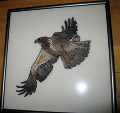 Completed Counted Cross Stitch Hawk Majestic Birds of Prey backstitched Expert #Fromcrossmyheartpattern http://stores.ebay.com/myeclecticmercantile?_dmd=1&_nkw=completed