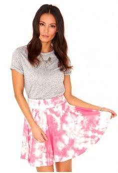Olinka Tie Dye Skater Skirt - http://www.missguided.co.uk/catalog/product/view/id/64879/s/olinka-tie-dye-skater-skirt/category/501/ #fashion #style #Missguided #skirt #pink #WIN