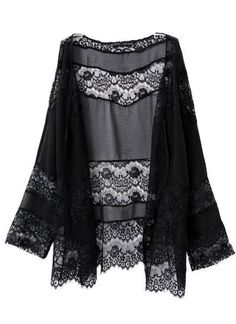 This black kimono features floral lace detailing, eyelash lace trims, open front design and long sleeves, which is chic and trendy. Come and get one! Features: Made from semi-sheer chiffon, soft and b