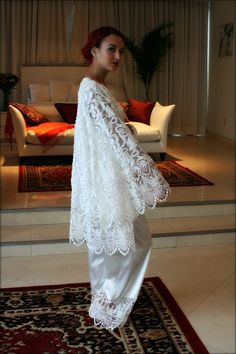 Embroidered Lace robe over satin pajama. Sarafina Dreams 2016 Prima Collection. sarafinadreams.etsy.com