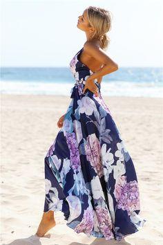 summer maxi beach dress women 2017 sexy bandage v neck long robe femme purple floral print sundress boho dresses elegant vestido Cute Dresses, Beautiful Dresses, Casual Dresses, Maxi Dresses, Long Dresses, Prom Dress, Casual Summer Outfits, Cute Outfits, Summer Dresses