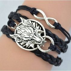 Buy Exquisite Charms Wild Retro Tribal Style Wolf head Infinite Knit Leather Bracelet Gift EAS at Wish - Shopping Made Fun Hemp Bracelets, Black Bracelets, Layered Bracelets, Bracelets For Men, Jewelry Bracelets, Summer Bracelets, Bracelet Men, Braided Bracelets, Chain Jewelry