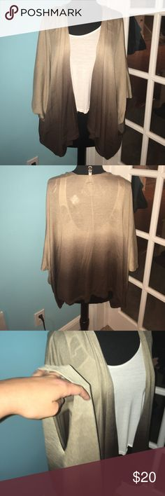 Tan/Brown Ombré Cardigan Beautiful ombré cardigan. One size fits all. Never worn. NWT. Super soft material. Offers accepted but within reason!!! Mixit Sweaters Cardigans