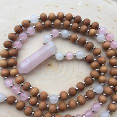 Rose+quartz%2C+white+jade%2C+and+sandalwood+108+bead+mala+style+necklace