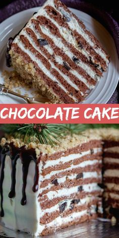 Chocolate Walnut Cake Layers - Food RecipesChocolate Walnut Cake layers frosted with Sour Cream Frosting and Dry Plums, perfect harmony of flavors and all made in under 1 hour! A classic Russian dessert recipe for any occasion. Chocolate Desserts, Fun Desserts, Chocolate Cake, Dessert Recipes, Chocolate Frosting, Top Recipes, Sour Cream Frosting, Russian Desserts, Delicious Cake Recipes