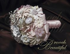 Vintage inspired pink brooch bouquet with shades of pink, ivory and white by #BroochBeautiful, #wedding #pinkbouquet #broochbouquet #platinumwedding #unique #bling #bride #overthetop #crystalbouquet , $220