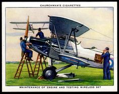 "https://flic.kr/p/NtQSBa | Cigarette Card - Aeroplane Maintenance | Churchman's cigarettes ""The R.A.F. at Work"" (series of 48 issued in 1937) #21 Maintenance of engine and wireless set"